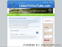 listentoyoutube.com - ListenToYouTube.com: Youtube to MP3, get mp3 from youtube video, flv to mp3, extract audio from youtube, youtube mp3